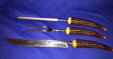 Vintage 3 pc Carving Set Knife Fork Sharpener Plastic Bone Handle Crown Crest