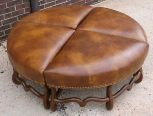 Cool Details About Four Section Round Brown Leather Ottoman Machost Co Dining Chair Design Ideas Machostcouk