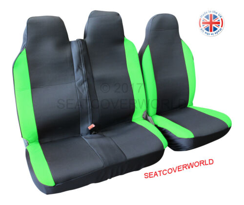BLACK//GREEN RACING VAN SEAT COVERS IVECO DAILY DOUBLE SINGLE