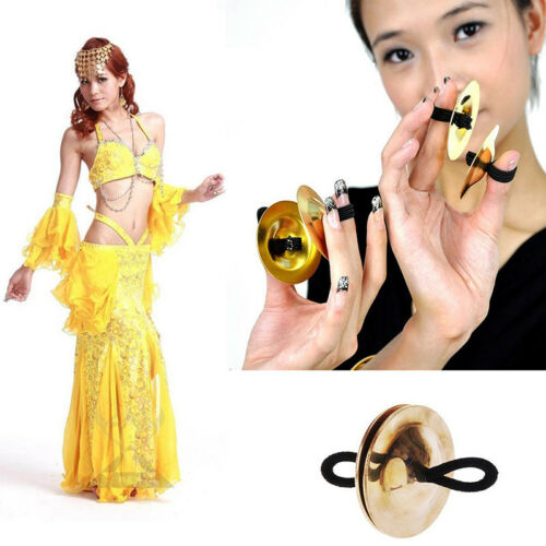 2x Pro Belly Dance Texture Mini Finger Cymbals Zills Pure Copper Dancing Tool OS