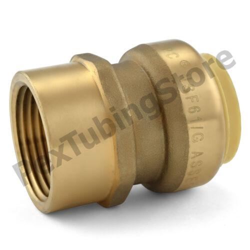 "1/"" Sharkbite Style Push-Fit x 1/"" FNPT Lead-Free Brass FNPT Adapter"