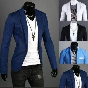 Charm-Men-039-s-Casual-Slim-Fit-One-Button-Suit-Blazer-Coat-Jacket-Tops-Men-Fashion