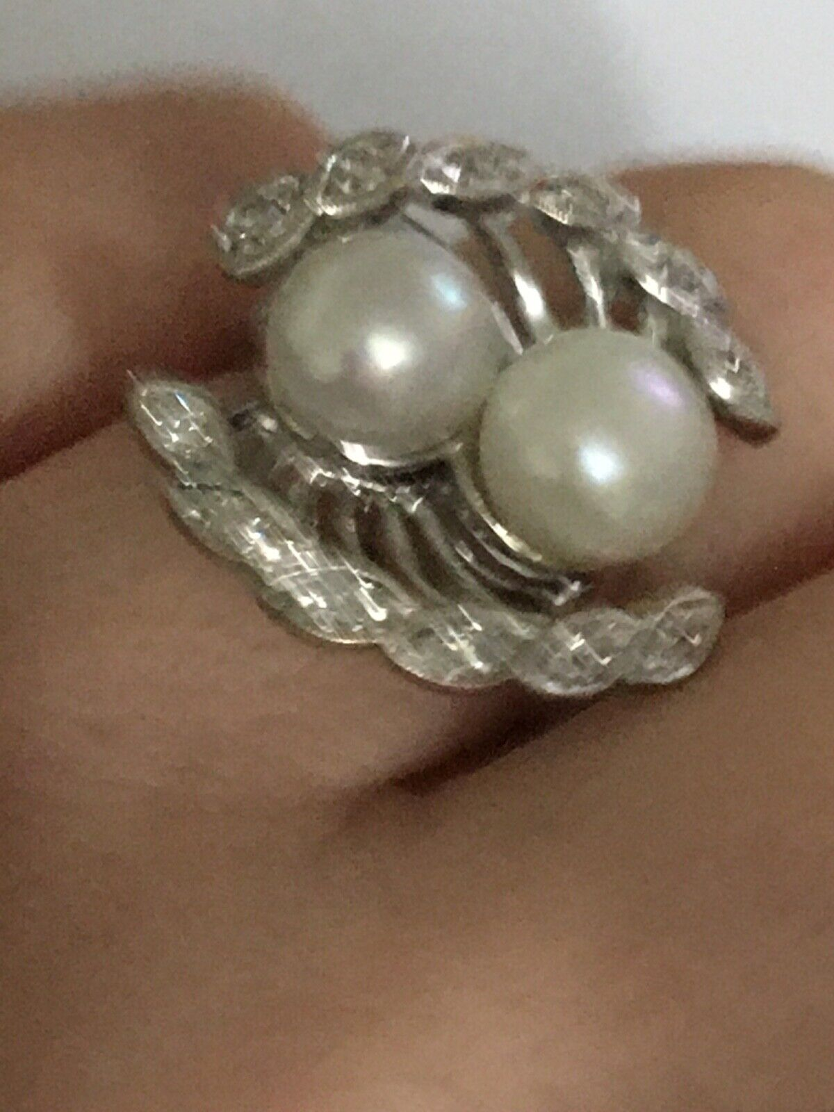 Vintage pearl and diamond Ring, Pearl and Diamond… - image 5