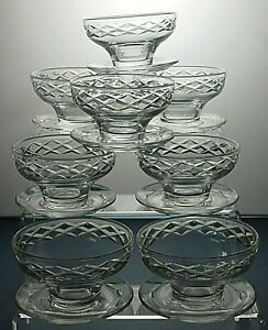 Lead-Crystal-Cut-Glass-Dessert-bowls-Or-Footed-dishes-set-of-8