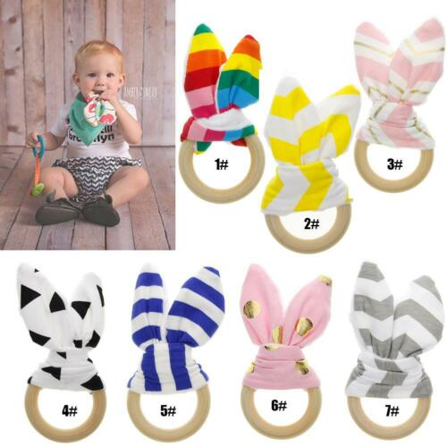 Ears Ring Teether Wood Circle With Fabric Training Sensory Newborns Toys Newly