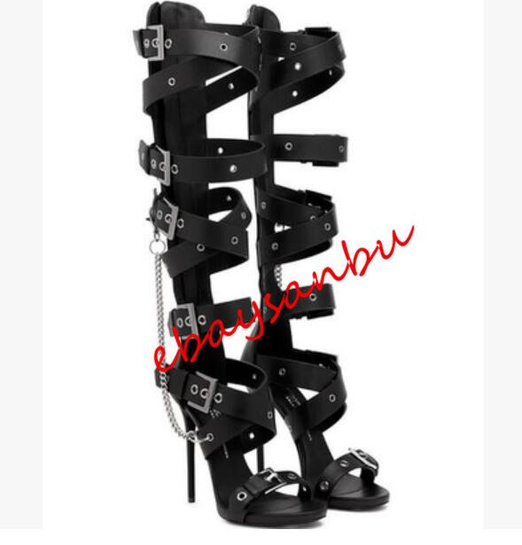 donna KNIGHT PU LEATHER METAL CHAIN ROMA SANDALS SLIM SLIM SLIM HEELS BACK ZIP COOL scarpe 849603