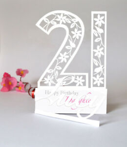 Image Is Loading Personalised 3D PaperCut 21st Birthday Card For A