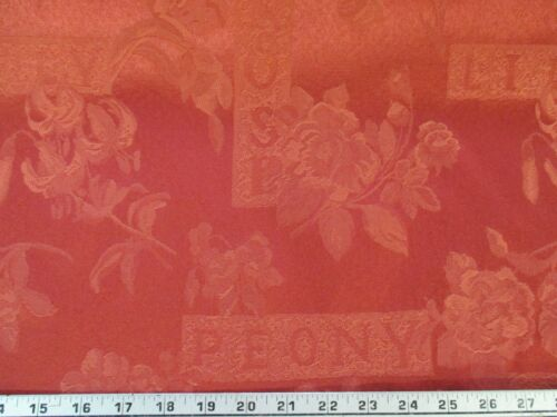 Cinnamon Red Damask Jacquard Curtain Fabric Upholstery Cushions Furnishing