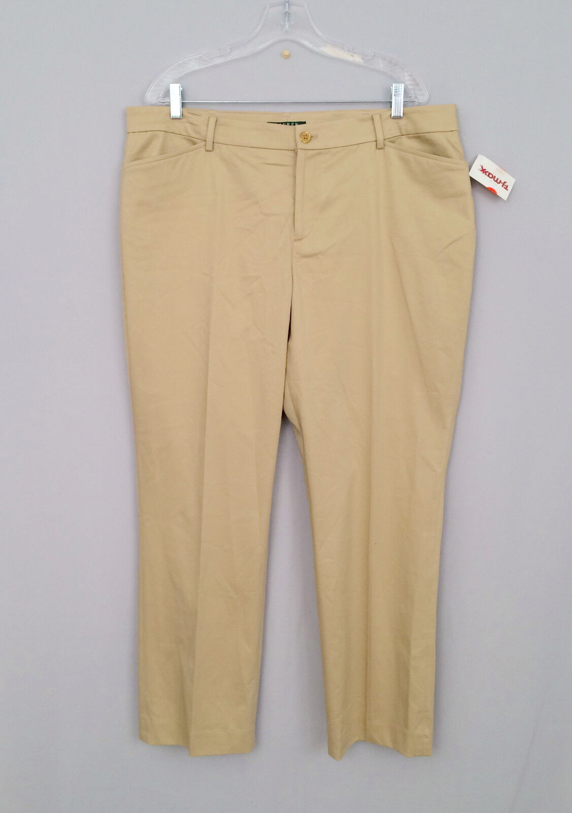 New LAUREN RALPH LAUREN Women's Sz.16 Khaki Career Pants Cotton Blend NWT