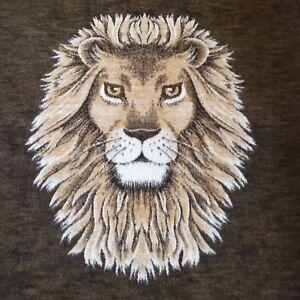 Vtg-Biederlack-Lion-Head-Blanket-Reversible-Full-Double-Bed-W-Germany-Acrylic