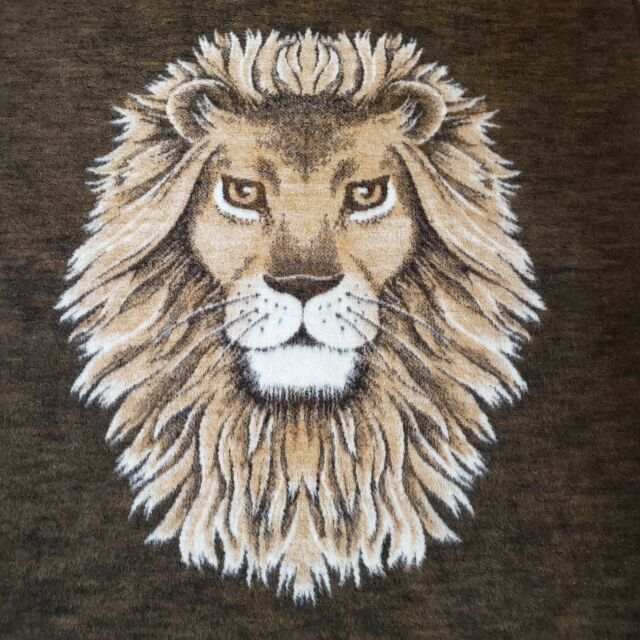 Vtg Biederlack Lion Head Blanket Reversible Full Double Bed W Germany Acrylic