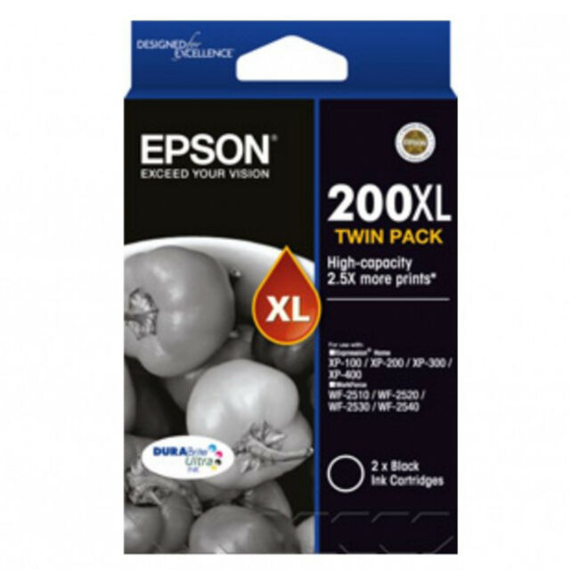 GENUINE Original Epson 200XL Black Twin Pack Ink Cartridge T201194 C13T201194