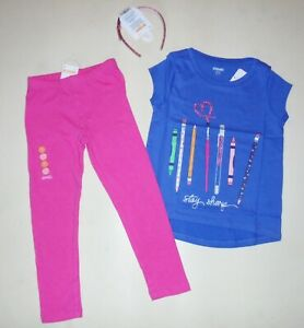Gymboree-Girls-Flower-Leggings-School-Tee-Sparkle-Headband-Size-4-NWT