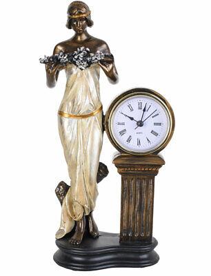 Tischuhr Jugendstil Frauenfigur Skulptur Mädchen Kaminuhr Antik Uhr Kinderuhr