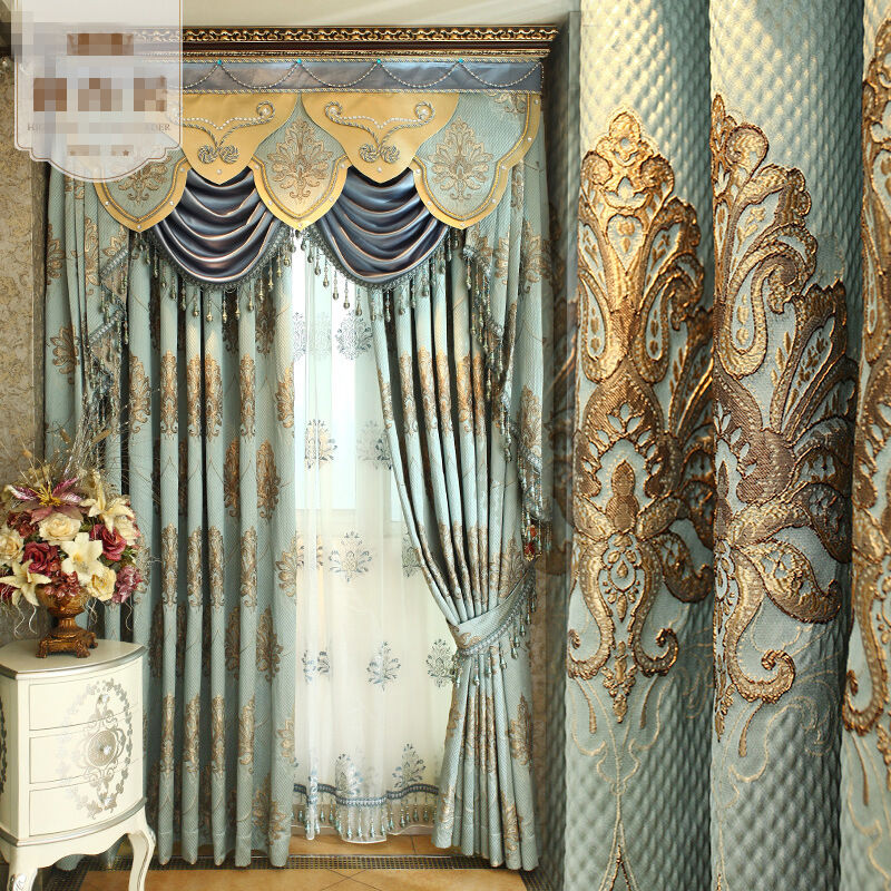 curtains modern European living room luxury cloth blackout curtain