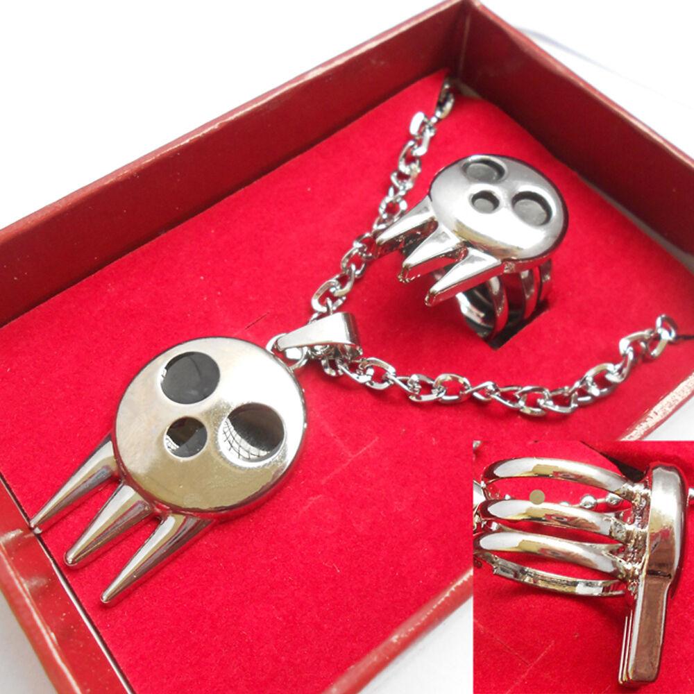 Soul Eater Anime Skull Logo Ring Necklace Pendant Keychain Pendant