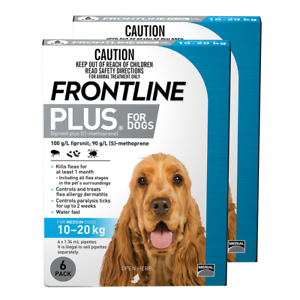 Frontline Plus for Medium Dogs 10 to 20kg (bluee) (12 Pipettes) Dog Dogs