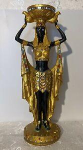 "Pharoah's Servant Egyptian Style 14"" Candlestick - Candle Holder - Resin - Gold"