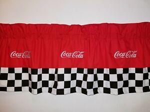 CUSTOM-LINED-VALANCE-42X15-RETRO-DINER-COCA-COLA-COKE-SODA-POP-DRINK-CURTAIN