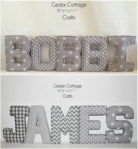 Image Is Loading Fabric Letters Wall Art Personalised Handmade Nursery Name