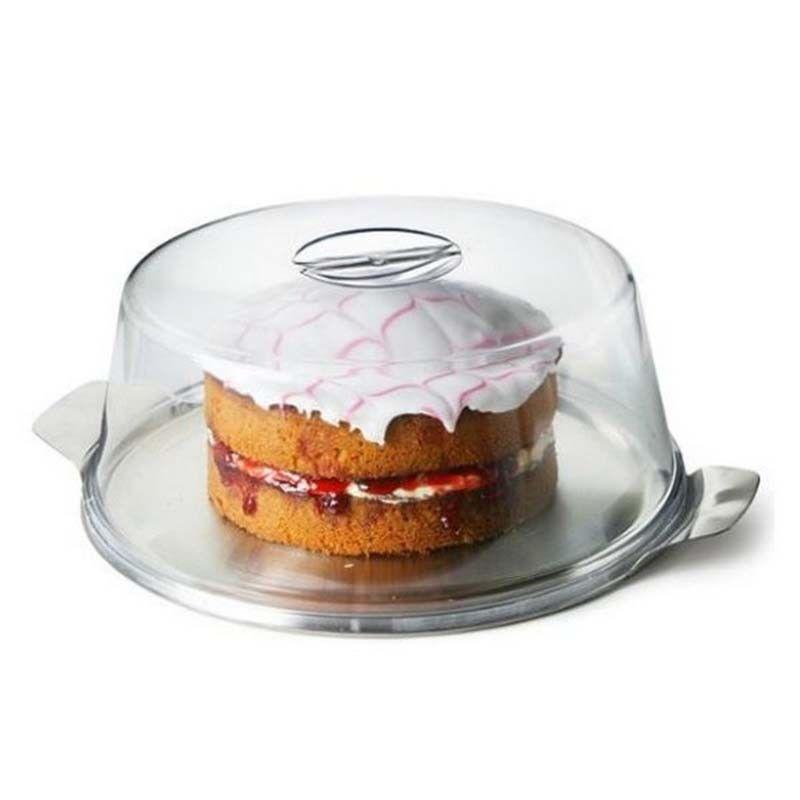 10 X Pastel cúpulas de plástico y acero inoxidable placas Pastel quesos sándwich Cubierta Nuevo