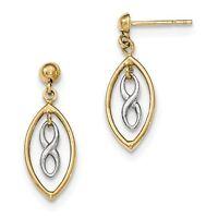 14k Two Tone Gold Polished Infinity Symbol Dangle Earrings (0.9in Long) on Sale