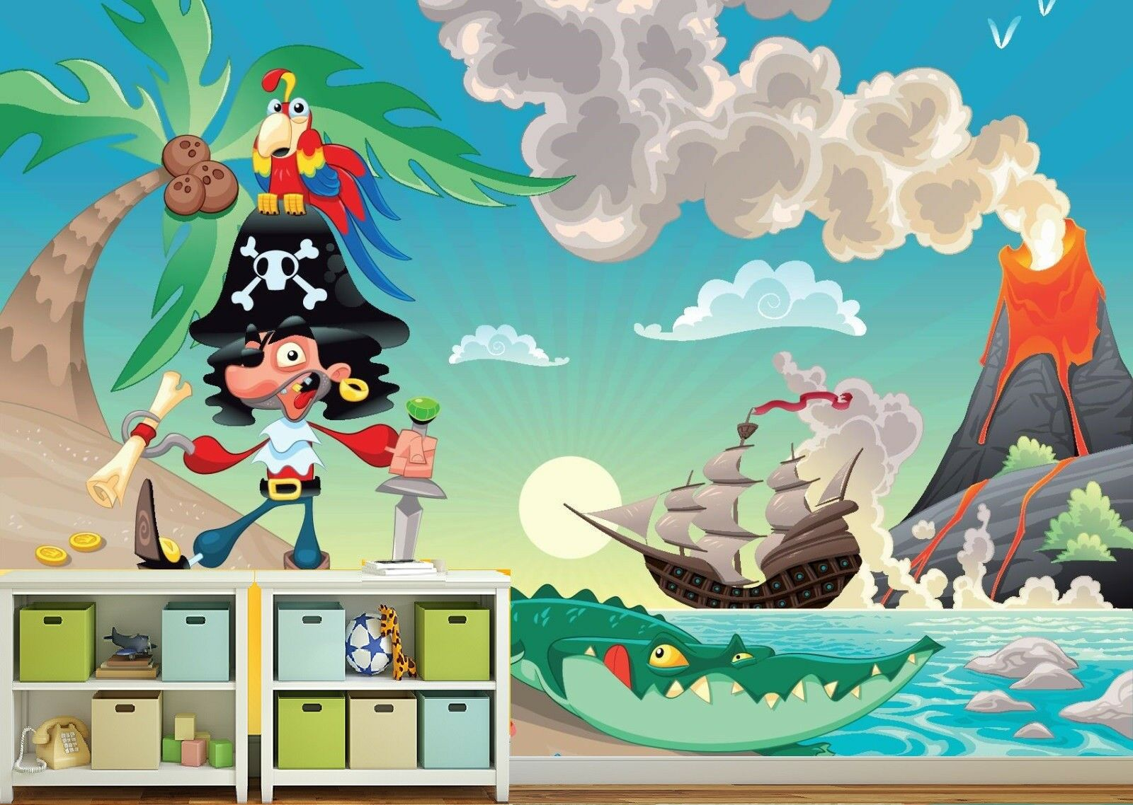 Kids Wallpaper - PIRATE AND PARred  PIRATES   - Wall Mural nursery decoration