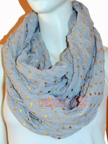 New Grey Light Weight All Season Heart Gliding Crinkle Infinity Scarf Loop Cowl