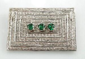Brosche-750er-Gold-mit-Turmalin-u-Diamanten-18-Karat-Weissgold-Antik-22-86-Gramm
