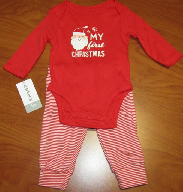 ccd225c93 NEW CARTERS BABY MY FIRST CHRISTMAS SANTA CLAUS BODYSUIT & PANTS SET 3M