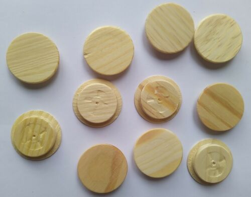SOLID WOOD Pine Flat Cover Caps for 15 20 25 30 35mm HOLE Plug Wooden Low Stairs
