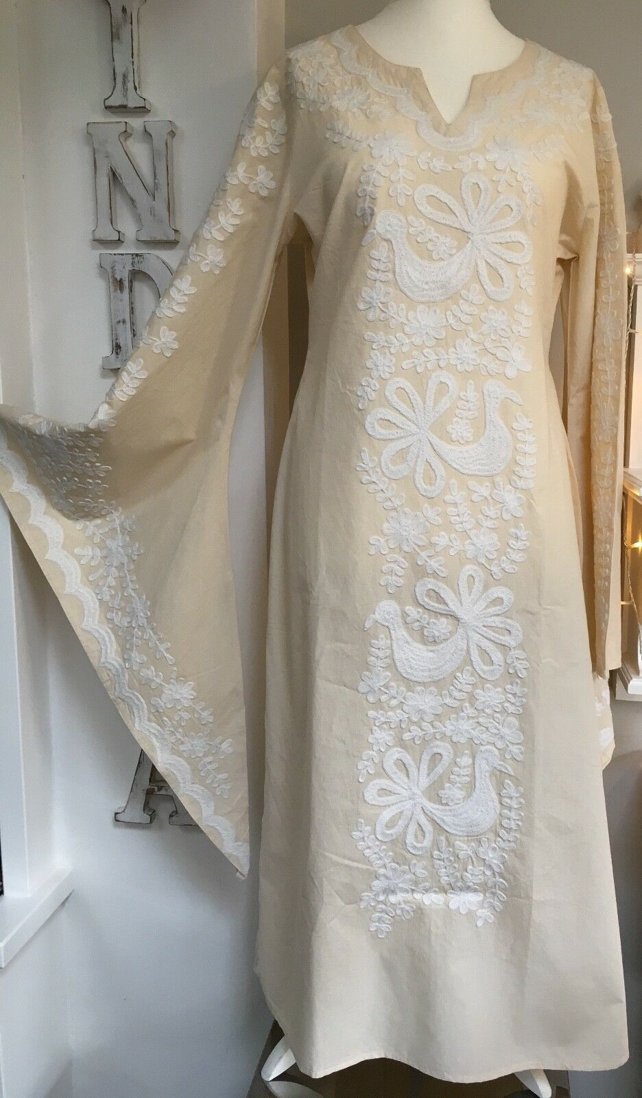 89bd18526d BNWT EMBROIDERED MEXICAN STYEL ECRU ANGEL MAXI DRESS BEACH WEDDING S M L XL