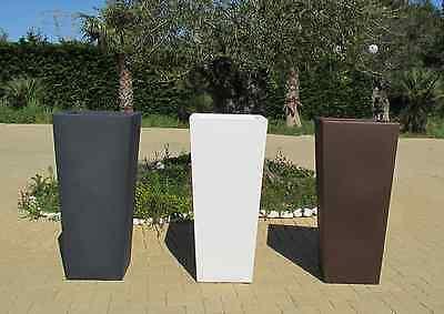 Vaso resina quadrato alto vasi moderni H 100 x40x45 con cache pot Made in Italy