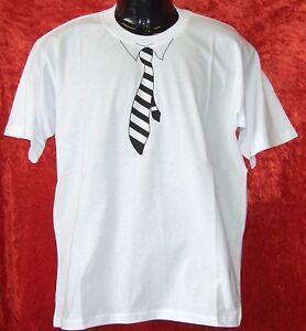 T-Shirt-Krawatte-weiss-S-XXL