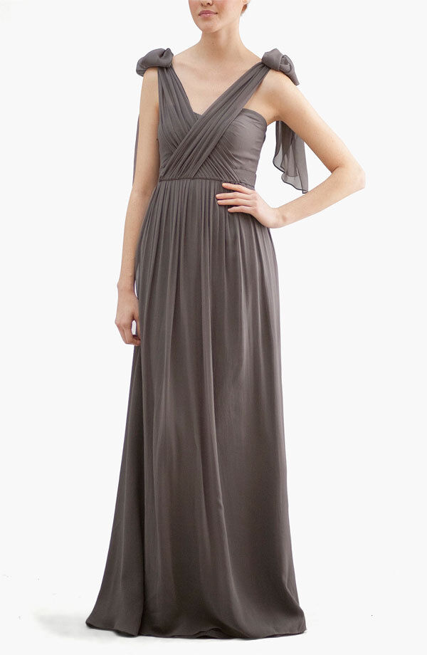 NEW JENNY YOO 'Aidan' Congreenible STRAPLESS DRESS GOWN SIZE 2  CHARCOAL GREY