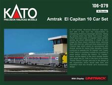 Kato 106-079 N Scale Amtrak El Capitan 10 Car Passenger Set w Display UNITRACK