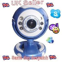 Blue USB Webcam High Quality& Resolution, 5G Lens, Built in Mic  6 LED Boxed.