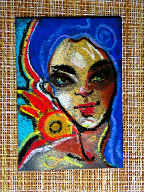 ACEO original pastel painting outsider folk art brut #010176 abstract surreal