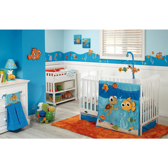 Disney Finding Nemo Luxury Lique 4 Piece Baby Crib Bedding Set Sea Life