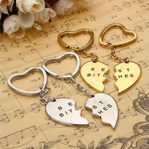 2X New Keychain Keyring BEST BITCHES Engraved Hearts Golden Friendship Gifts YJ