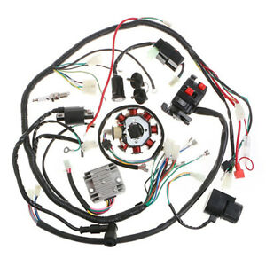 details about motorcycle atv quad electric spark plug switch razor cdi coil  wire harness kit