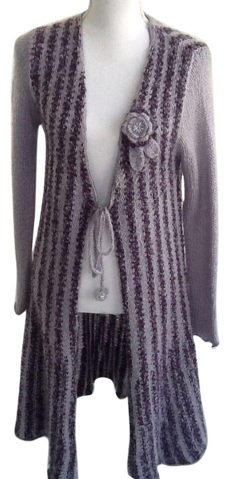 BCBG-MAX AZRIA lila Striped Wool Lightweight Sweater Coat- RARE