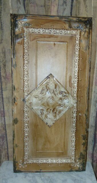 Architectural Salvage 1908 Wall Art Vintage Tin Metal Ceiling Tile 1900 S