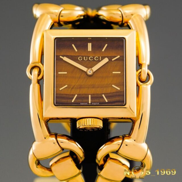 f51ce5c434d GUCCI SIGNORIA REF 116.3 TIGER EYE DIAL 18K YELLOW GOLD LARGE SIZE ...