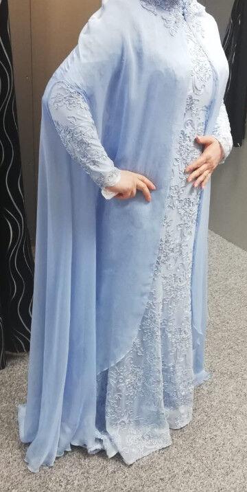 Damen Abenkleid Cocktailkleid Ballkleid Hellblau Bodenlang