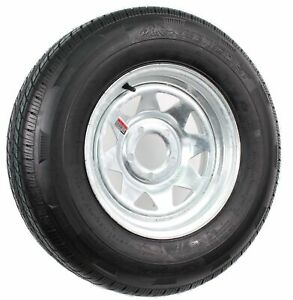 "2-Pk Radial Trailer Tire On Rim ST205/75R14 LRD 14"" 5 Lug Spoke Wheel Galvanized"