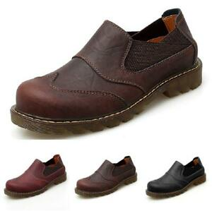 38-47-Retro-Mens-Low-Top-Leisure-Leather-Shoes-Round-Toe-Slip-on-Non-slip-DD