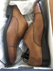 Banana Republic Italian Cognac Leather Cap-Toe Oxford Dress Shoes 7.5 M