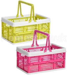 Image Is Loading FOLDING STORAGE BASKET PLASTIC WITH HANDLE FOR PEGS