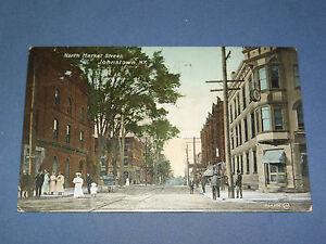 VINTAGE-NORTH-MARKET-STREET-JOHNSTOWN-NEW-YORK-POSTCARD